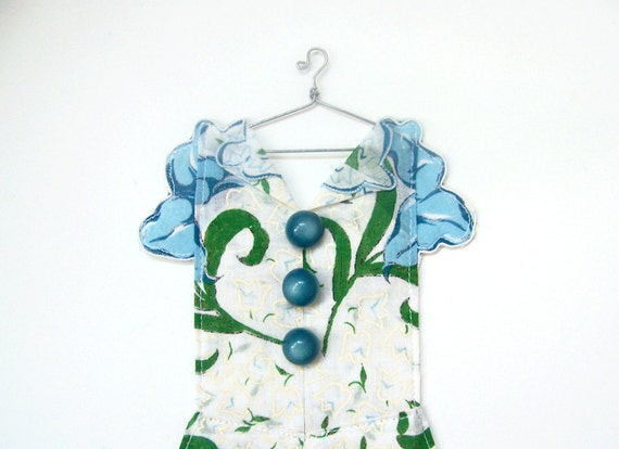 Hanky Dress - Turquoise Floral with Lilies and Tulips