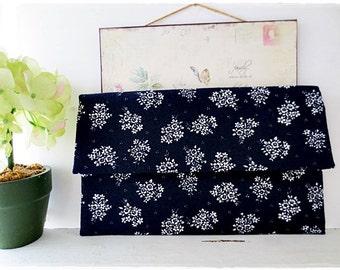 Bridesmaids large envelope clutch navy blue rose wedding bridal evening purse