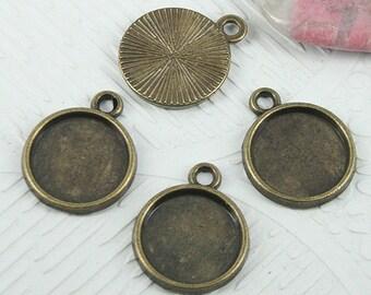 42pc antiqued bronze color 18x14mm cabochon settings EF0720