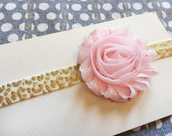 Ivory & Gold Leopard with Light Pink Rose Headband, Baby Headband, Child Headband, Leopard Headband, Pink Rose Headband, Newborn Headband