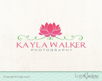 Premade Hand Drawn Lotus Design Logo - Text Logo - Your Name - Lotus - Photography - Logo for a Photography Business