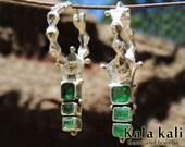 RESERVED for TERESA // Genuine Emerald Earrings Sterling Silver Dangle Hoops 46 MM