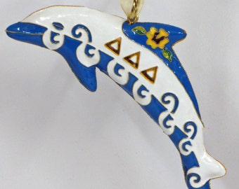 Tri Delta Dolphin Mascot Cloisonne Ornament with 24k gold plating