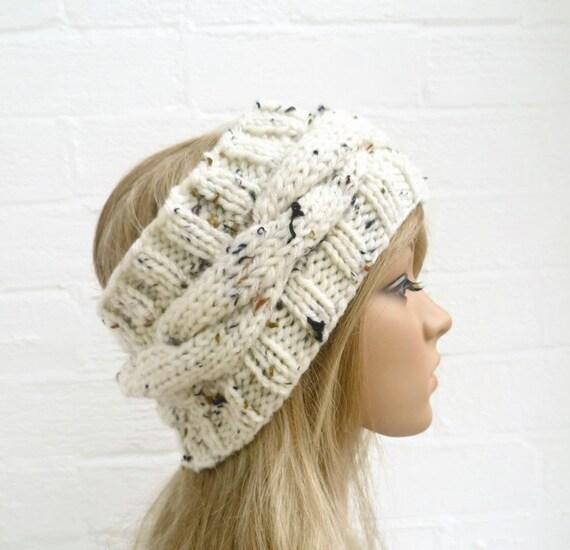 Hand Knit Headband Earwarmer, Cabled Cream Headwrap. Womens Headband, Accessories, Acrylic, Clickclackknits