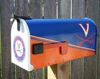 Team, School, Custom Painted Mailbox by TheBusBox Custom made - Choose your color - Sports Team - School Spirit - LogoBox Blue and Orange