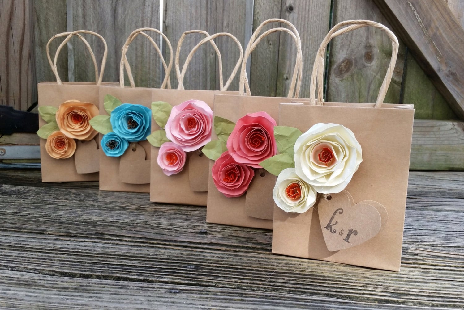 Kraft Gift Bags Shabby Chic Paper Flowers Gift Bags Your