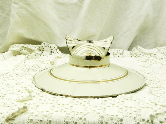 Antique French White Enamelware Pendant Light Shade with Gold Bands, Hanging Ceiling Lamp Enamel Cover, Shabby Chateau Chic Decor France