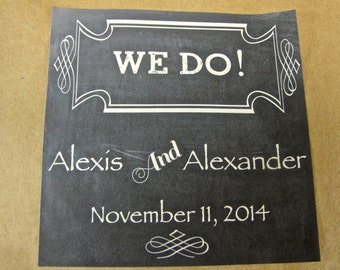 """Personalized Favor or Gift Tag Stickers - """"We Do"""" Chalkboard Design"""