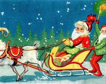 Goat Pulls SANTA in Sleigh with Elf. CHRISTMAS PostCard. Vintage Christmas Illustration.  Digital Christmas Download. Vintage Santa Print.