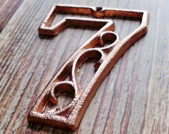 house number seven metallic copper cast iron wall hangers decorative house warming gift 45 inches table - Decorative House Numbers