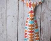 Boy Argyle Neck Tie- Michael Miller Argyle Fabric- with Comfy Adjustable Velcro Strap- aqua blue, tan, orange, coral