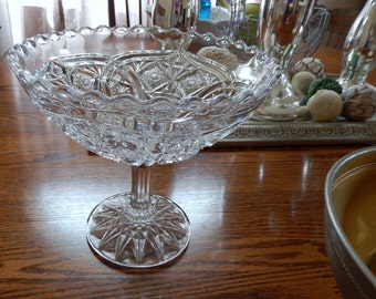 EAPG  Quintec Pattern Smith Glass Compote