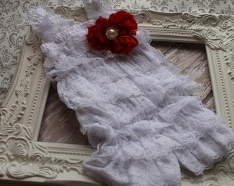 Valentines Lace Romper Baby Girl White Ruffle Romper Newborn Petti Romper Girls Pettiromper Valentine Outfit Photo Prop Toddler Lace Romper