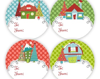 Holiday Gift Tag Stickers - Red, Green and Turquoise Polka Dot, Cute Silly Little Winter Snow Houses Gift Tags - 20 Round Christmas Labels
