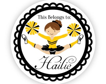 Name Tag Stickers - Fun Black and Gold Girl Cheerleader Personalized Name Label Tag Stickers - 2 inch Round Label Tags - Back to School Name