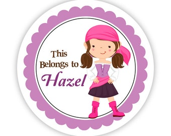 Personalized Name Tag Stickers - Purple and Pink, Adorable Pirate Girl Name Label Tag Stickers - Round Tags - Back to School Name Labels