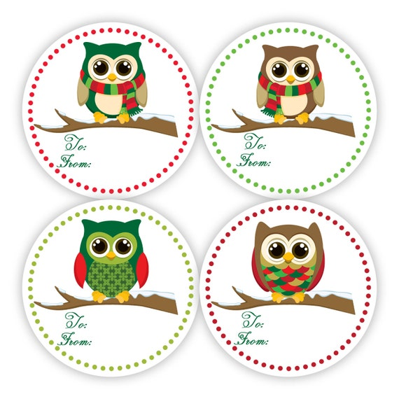 Christmas Gift Tag Stickers Fun Red and Green by PurpleBerryInk