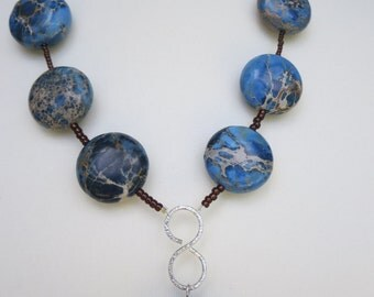 Jasper Gemstone Necklace, Pendant Necklace, Statement Necklace, Blue Gemstone Necklace, Handmade Jasper Pendant, U.K.