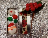 Christmas Santa Claus and flower magnets, red green white - thefrolickingfrog