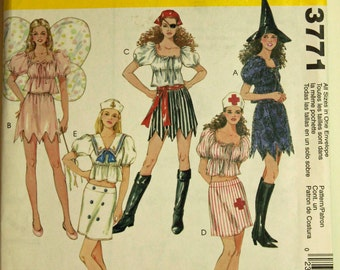 Witch, Fairy, Pirate, Nurse & Sailor Costumes - McCall's Pattern 3771 Uncut  All Sizes Included  S-M-L-XL