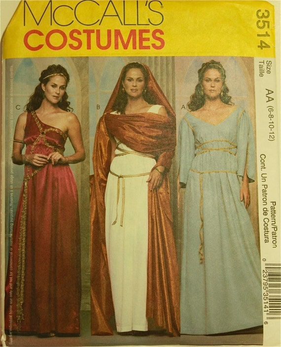 Mccall S 3514 Greek Roman Gown Toga Costume Sewing Pattern: Greek & Roman Costume McCall's Pattern 3514 Uncut Size