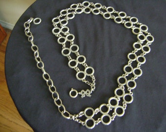 Vintage Double Circle Silver tone Metal Chain Belt