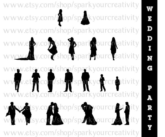 Items similar to Wedding Party Silhouettes // Wedding ...