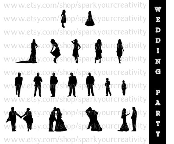 Wedding Party Silhouettes // Wedding Bride Bridesmaid