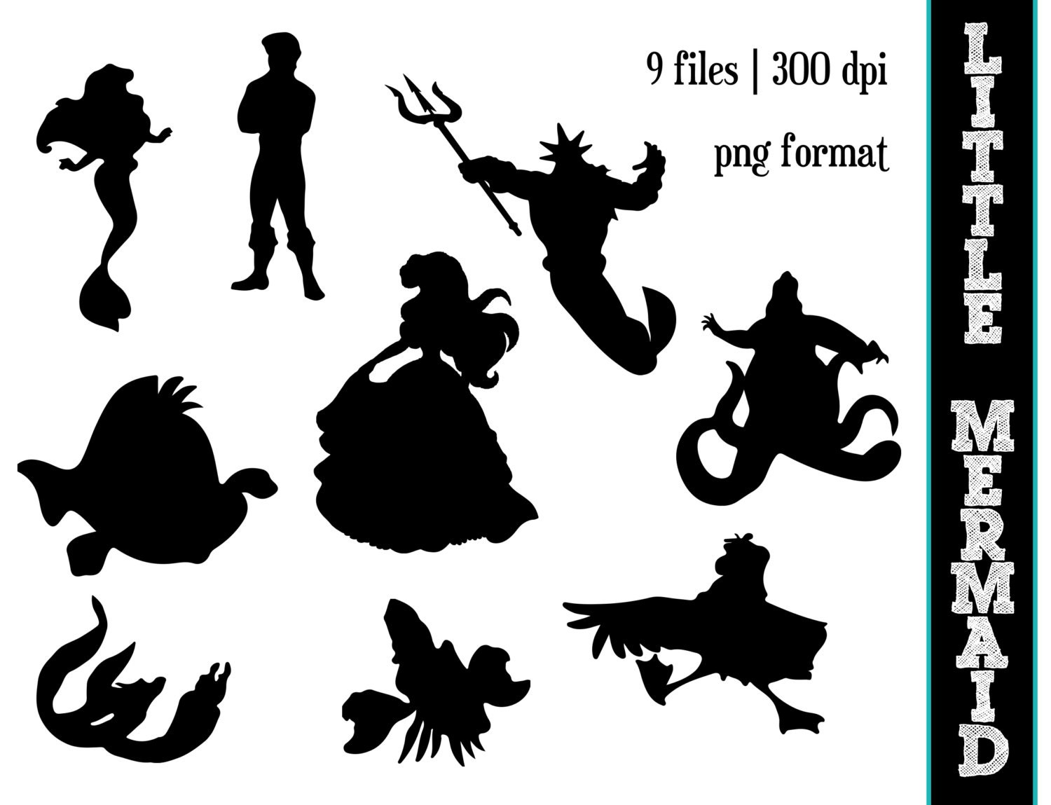 The Little Mermaid Silhouettes Disney Princess Ariel
