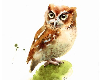 Watercolor Owl Bird Print 8 x 10 inches