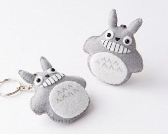 Smiling Totoro Felt Plushie Keychain