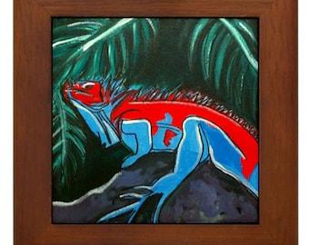 "Mexican Folk Art- ""Iguana"" - FRAMED TILE By Artist A.V.Aposte"