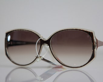 Vintage Polaroid Crystal Brown Black  Frame Sunglasses,  Butterfly  Frame POLAROID LOOKERS 8533. Non Polarizing  CR-39 Lenses. Made in Italy