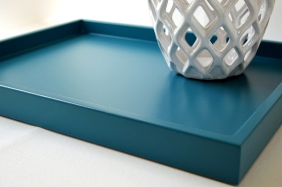 Teal blue 14 x 18 shallow wood decorative tray coffee table for Shallow coffee table