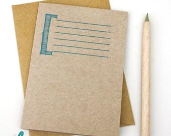 Typographic blank notecards stationery set gift kraft pack of 6