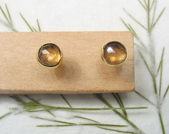 4 mm rose cut Smoky Quartz , solid 9k yellow gold studs earrings, Mother day earrings