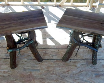 Rustic Pair of Handmade End Tables Log Cabin Adirondack Furniture by J. Wade, walnut accent side tables