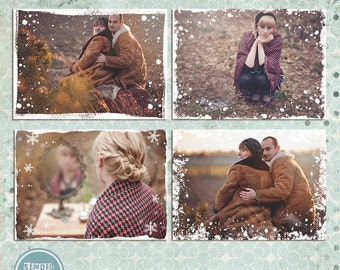 Winter, Snow, Photo Overlays - Photoshop Template - INSTANT DOWNLOAD
