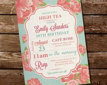 Vintage Shabby Chic High Tea Party Invitation - Instantly Downloadable and Editable File - Personalize at home with Adobe Reader