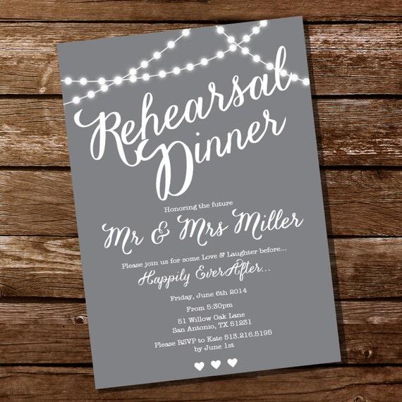Wedding Rehearsal Invitations: Gray Rehearsal Dinner Invitation Instant Download And Edit