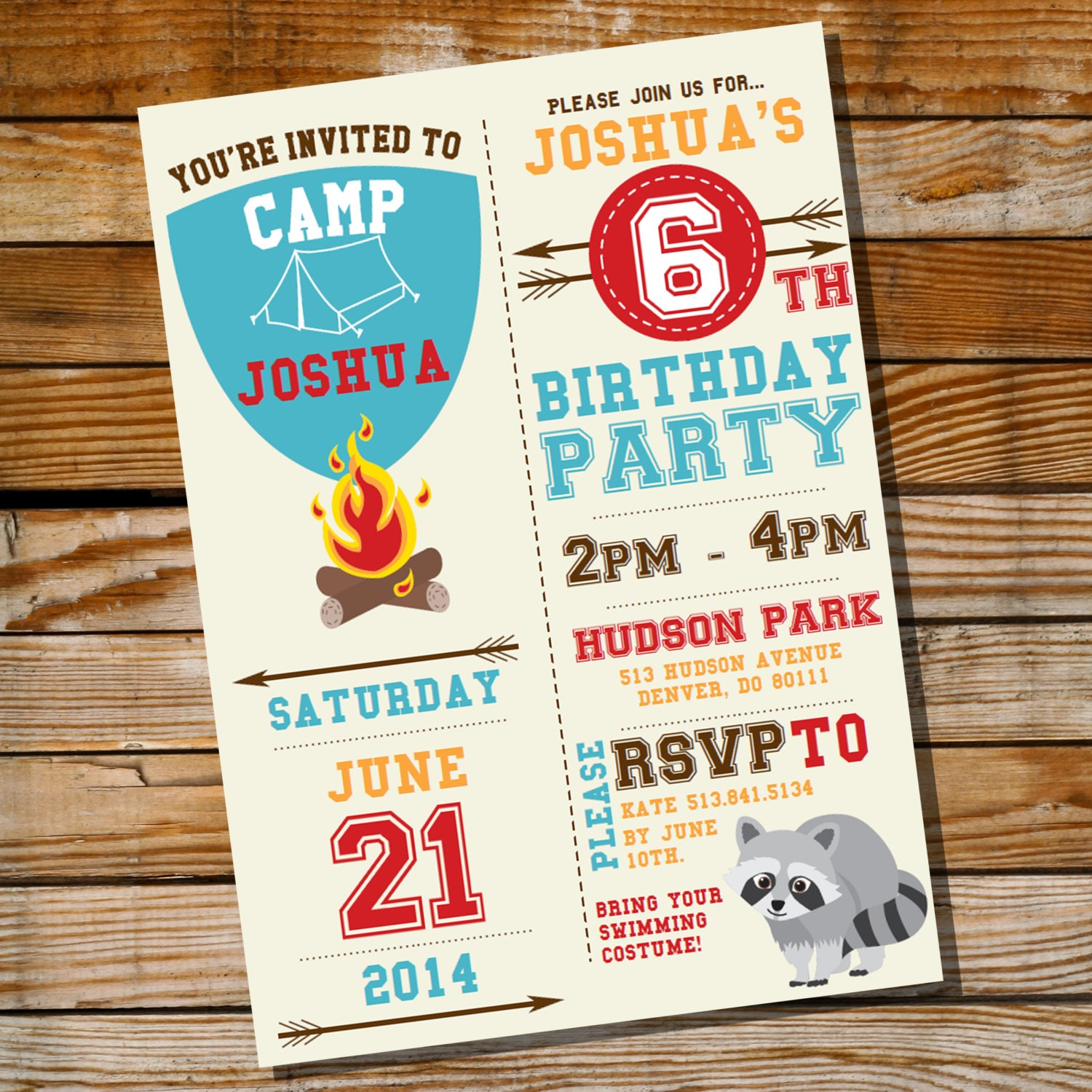 Camping Theme Invitations: Camping Party Invitation For A Boy Birthday Party Instantly