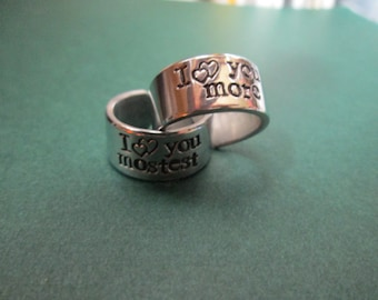 """hand made jewlery """"I love you more..   I love you mostest 2 rings"""" with initials"""