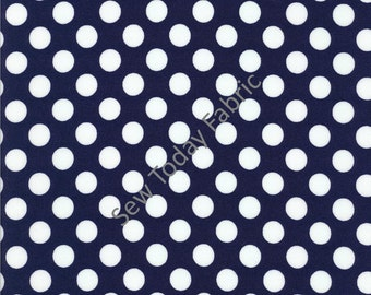 Ta Dot Indigo (White dots on Indigo) -  Michael Miller CX1492-INDI-D (sold by the 1/2 yard)
