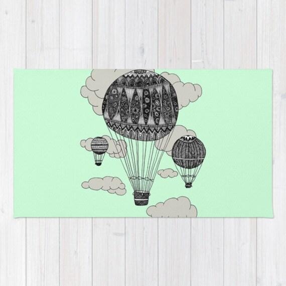 Hot Air Balloon Rug Mint Green Rug Kids Bath Mat Mint Bath