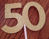 Glittery Gold Number Cupcake Toppers / dozen