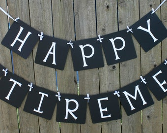 Happy Retirement Banner, Retirement Party, Party, Banner, Sign, Party Decor, Party Decoration, Custom Banner