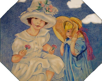 Print of Colored Pencil Drawing of Two Girls Called Spring Bonnets.