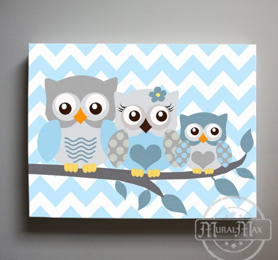 Owl decor boys wall art owl canvas art owl nursery owl for Canvas prints childrens bedrooms