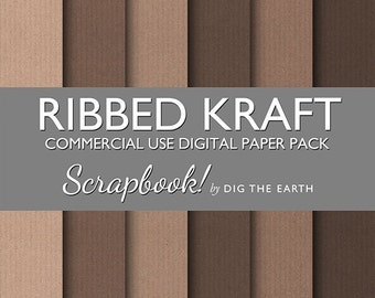 INSTANT DOWNLOAD Ribbed Kraft Paper Digital Collage Sheets 12x12 inch Set of 6 Digital Papers Brown Recycled Commercial Use Kit SDTE0041