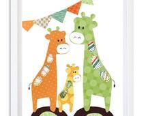 Giraffe Nursery print, Nursery decor, Nursery art, safari nursery, unisex room art, Kids wall art - Giraffe party